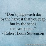 Don't Judge Each Day By The Harvest You Reap