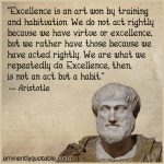 """Excellence Is An Art Won By Training And Habituation"