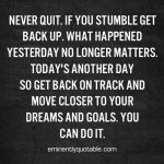 Never Quit. If You Stumble Get Back Up…