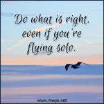 Do What Is Right, Even If You're Flying Solo