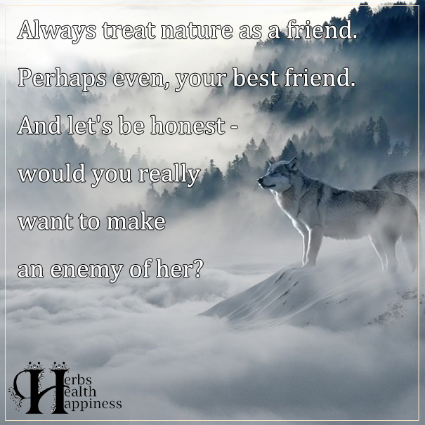 Always Treat Nature As A Friend