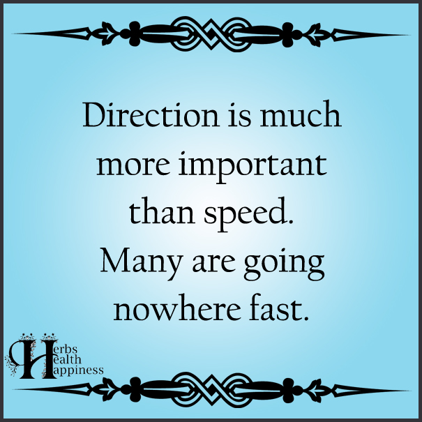 Direction Is Much More Important Than Speed