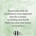 If You Really Think The Environment Is Less Important