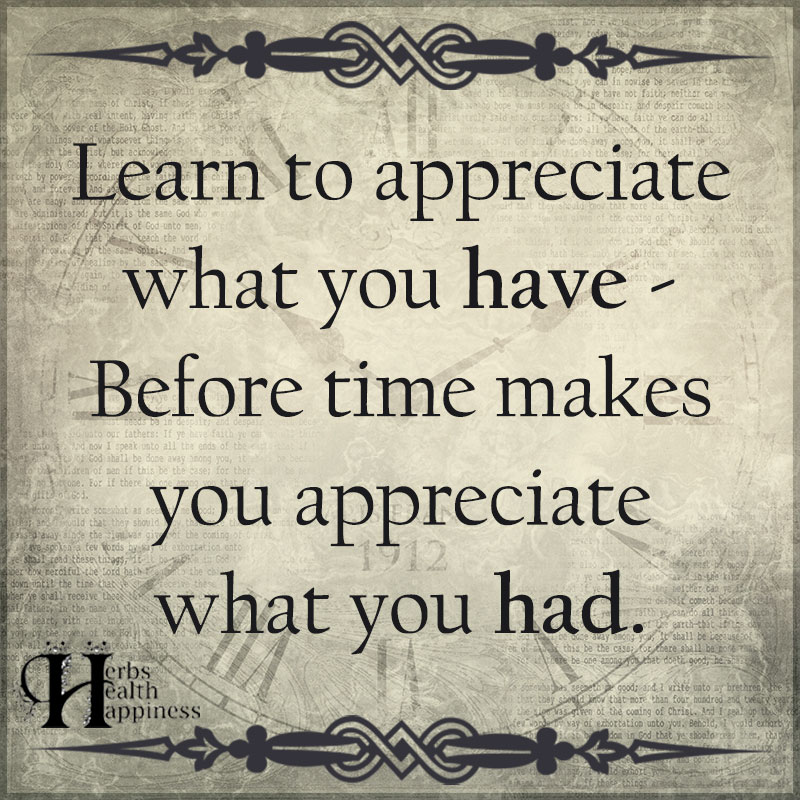 Appreciate Time Quotes: Learn To Appreciate What You Have