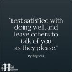 Rest Satisfied With Doing Well