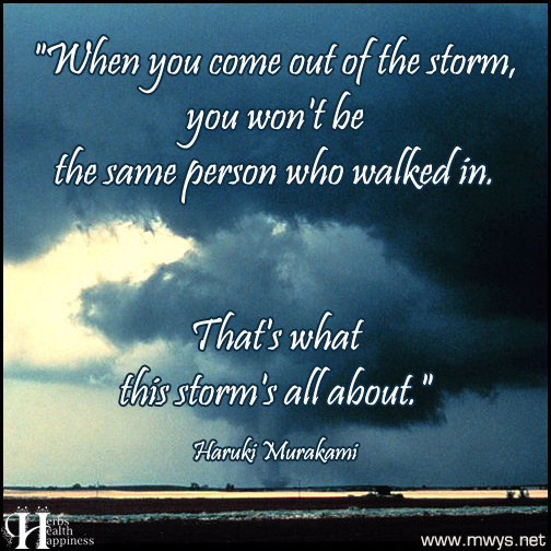 When you come out of the storm