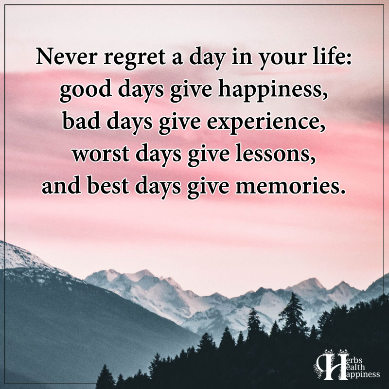 Never Regret A Day In Your Life