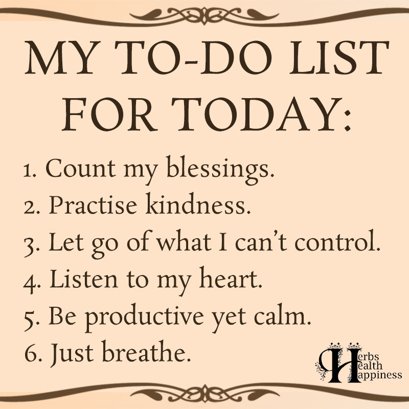 My To Do List For Today