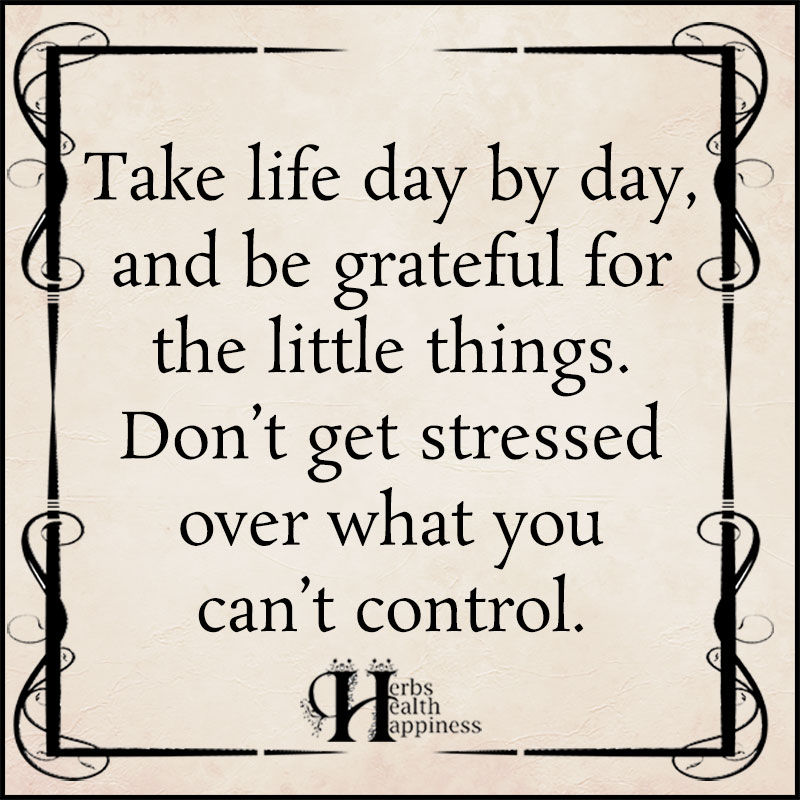 Take Life Day By Day And Be Grateful