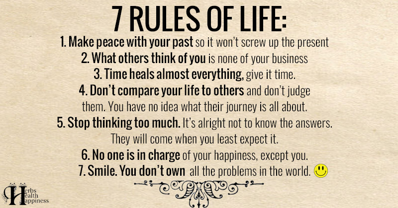 Of life quotes rules 7 Rules