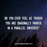 Do You Ever Feel As Though You Are Diagonally Parked In A Parallel Universe