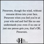 Persevere, Though The Wind, Without Remorse Drives Into Your Face