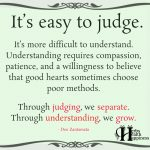 It's Easy To Judge. It's More Difficult To Understand.
